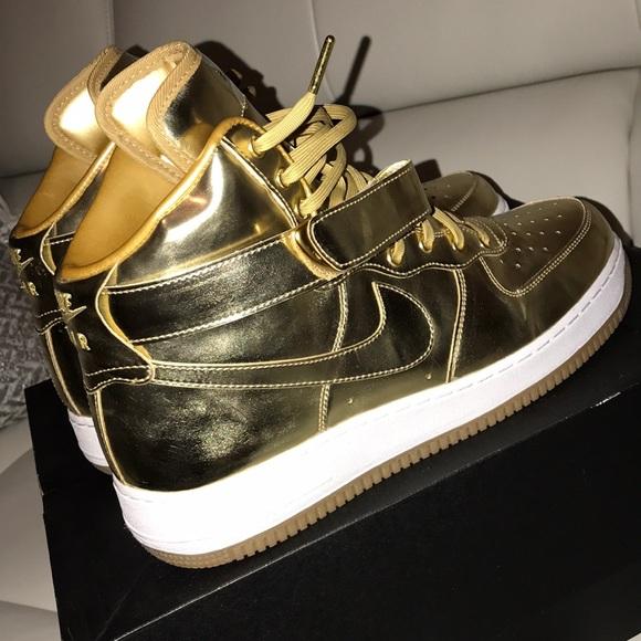 Gold High Top AF1 (NikeID Custom made) 4d4d57b237c6